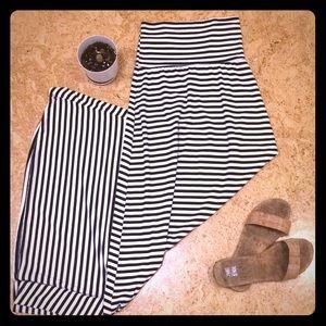 Black and white striped maxi skirt!